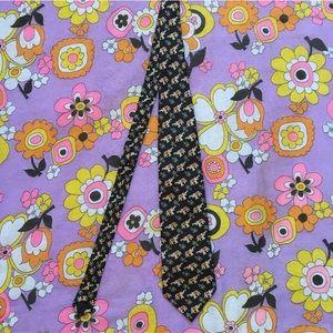 Vintage silk black & gold royal elephant tie